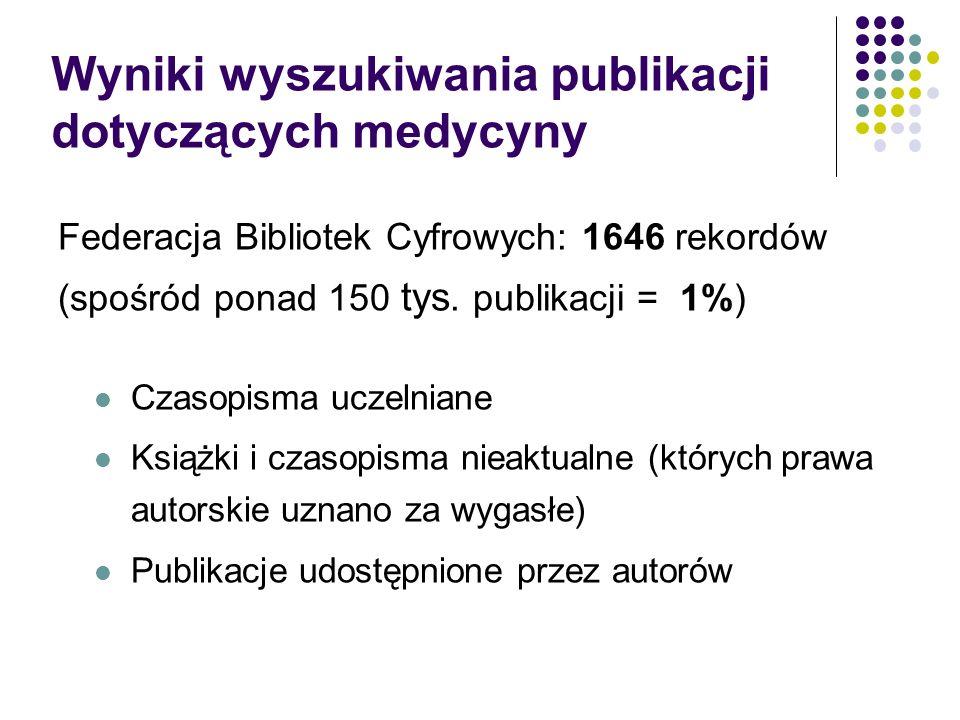 Wyniki wyszukiwania publikacji dotyczących medycyny Federacja Bibliotek Cyfrowych: 1646 rekordów (spośród ponad 150 tys. publikacji = 1%) Czasopisma u