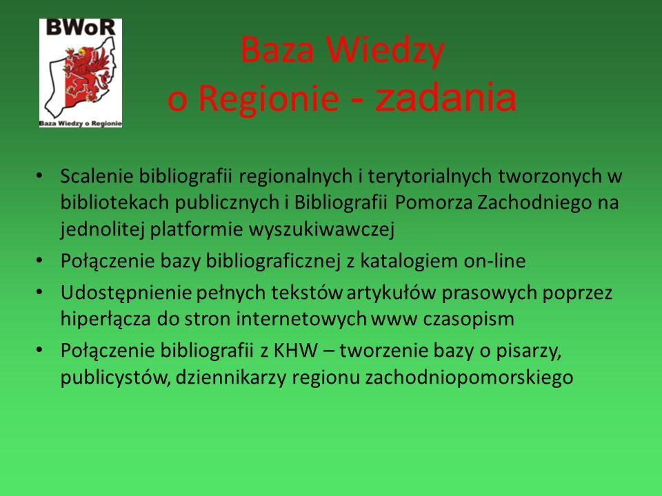 Baza Wiedzy o Regionie - zadania Scalenie bibliografii regionalnych i terytorialnych tworzonych w bibliotekach publicznych i Bibliografii Pomorza Zach