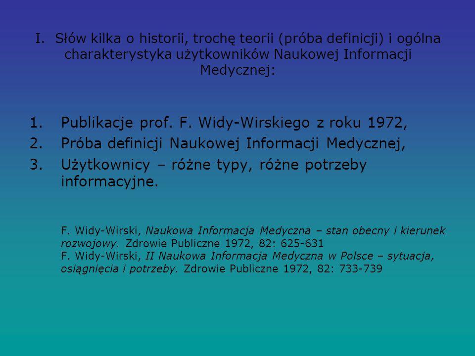I. Słów kilka o historii, trochę teorii (próba definicji) i ogólna charakterystyka użytkowników Naukowej Informacji Medycznej: 1.Publikacje prof. F. W
