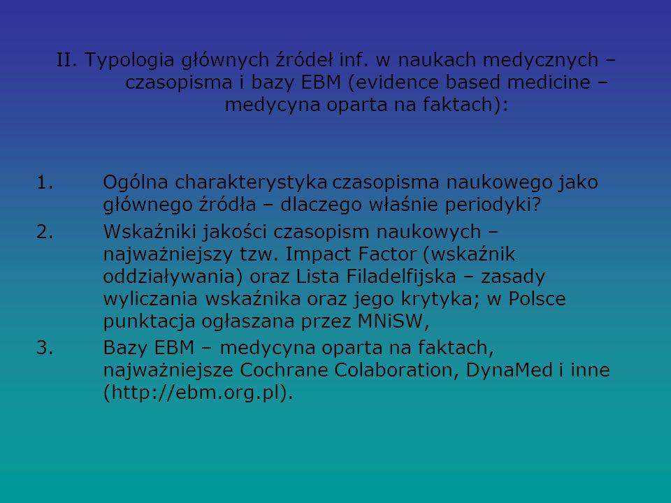 II. Typologia głównych źródeł inf.
