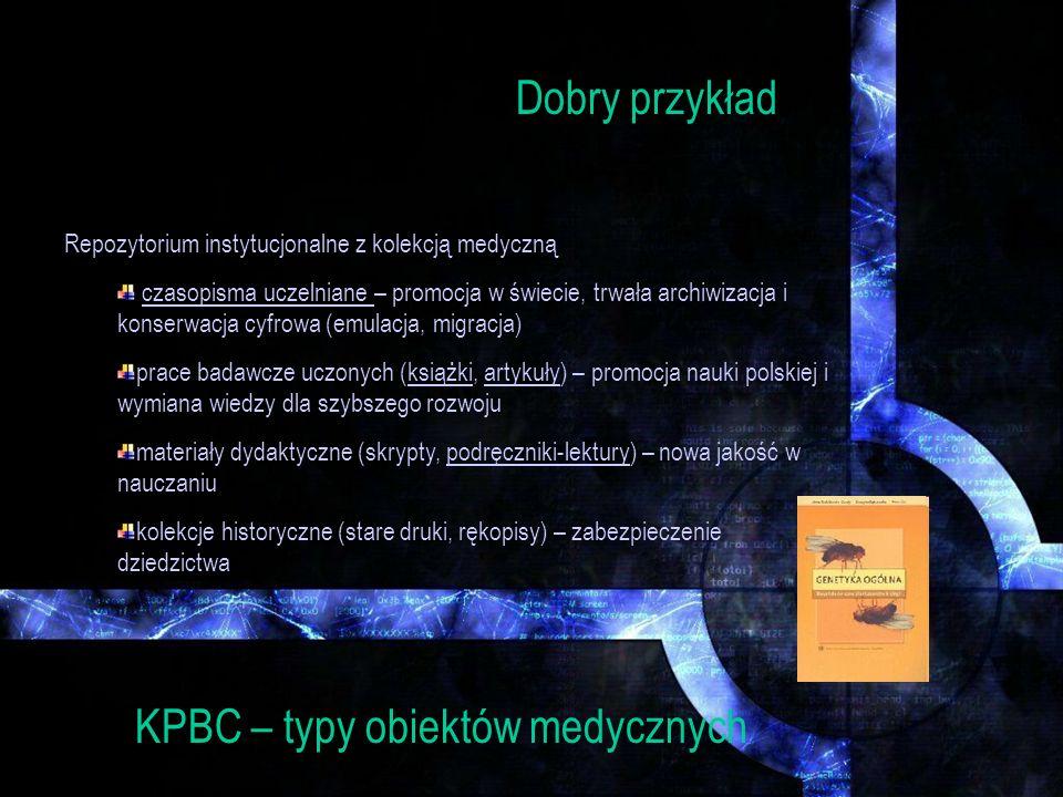 KPBC – status prawny obiektów Każda z pozycji w bibliotece cyfrowej ma inny status prawny Rozwiązania w KPBC: Dobro publiczne – 70 lat po śmierci autora Licencje instytucjonalne dla autorów i wydawców współczesnych Licencje Creative Commons dla współczesnych Dostęp ograniczony dla wyodrębnionych grup (IP, login)