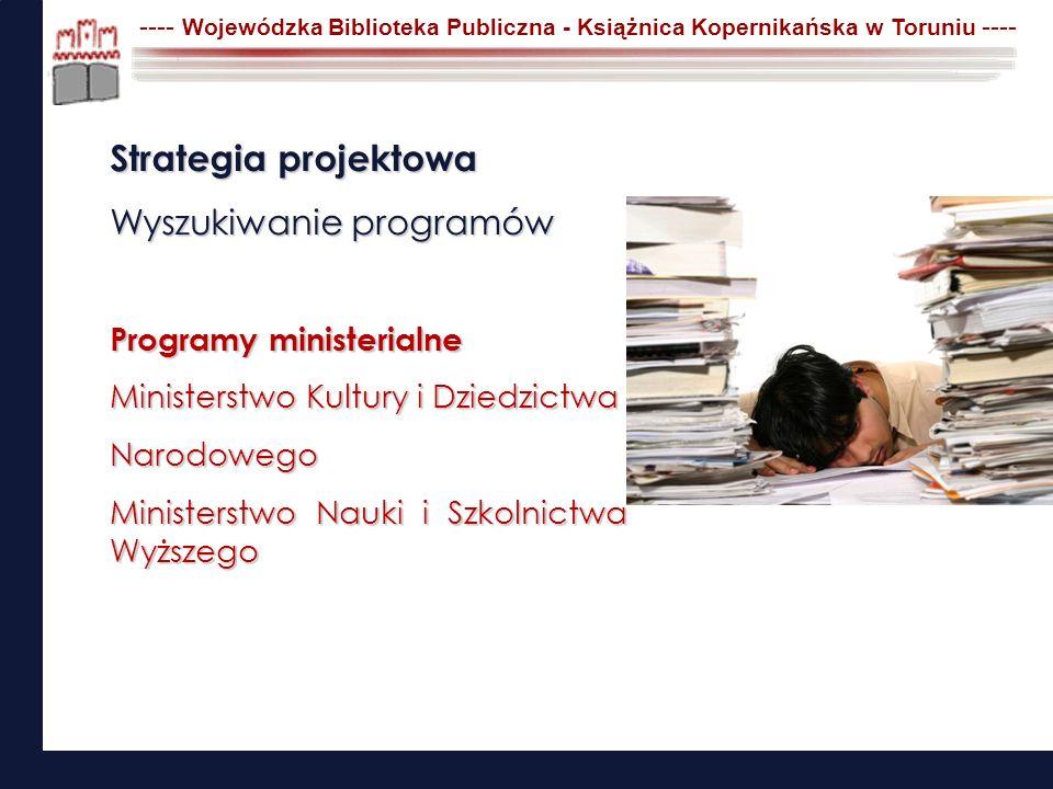 Strategia projektowa Wyszukiwanie programów Programy ministerialne Ministerstwo Kultury i Dziedzictwa Narodowego Ministerstwo Nauki i Szkolnictwa Wyżs