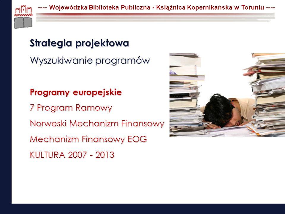 Strategia projektowa Wyszukiwanie programów Programy europejskie 7 Program Ramowy Norweski Mechanizm Finansowy Mechanizm Finansowy EOG KULTURA 2007 -