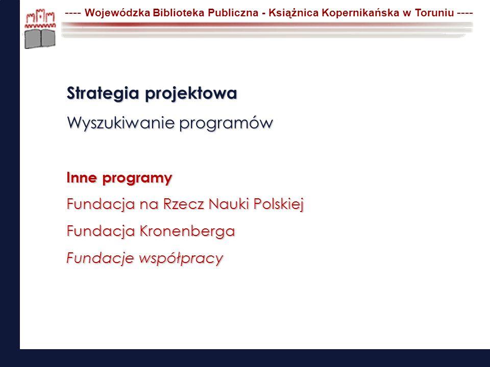 Strategia projektowa Wyszukiwanie programów Inne programy Fundacja na Rzecz Nauki Polskiej Fundacja Kronenberga Fundacje współpracy