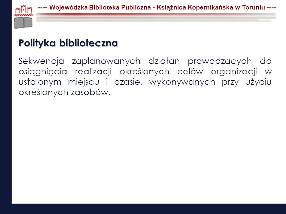 ---- Wojewódzka Biblioteka Publiczna - Książnica Kopernikańska w Toruniu ---- Cechy efektywnej polityki bibliotecznej Wpisana w kontekst spójna ze strategią rozwoju gminy, regionu, organizatora Innowacyjna atrakcyjna dla grupy docelowej i naszej instytucji Skuteczna przynosząca założony i wymierny efekt