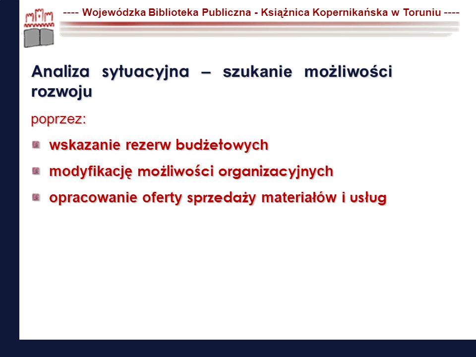 ---- Wojewódzka Biblioteka Publiczna - Książnica Kopernikańska w Toruniu ---- krok 4 ZAKOŃCZENIE ewaluacja i rozliczenie zadania utrzymywanie projektulista niezgodności (działania korygujące) Konstruowanie projektu