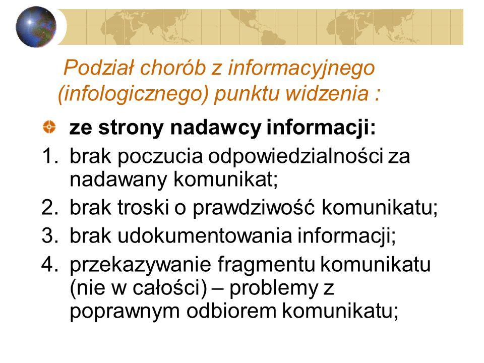 Choroby informacyjne Niedomagania człowieka (fizyczne i psychiczne), które są wywoływane przez informacje docierające do człowieka z zewnątrz. Spowodo