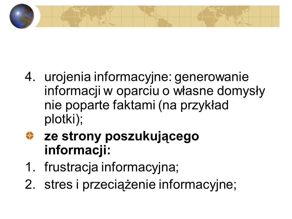 Podział chorób z informacyjnego (infologicznego) punktu widzenia : ze strony nadawcy informacji: 1.brak poczucia odpowiedzialności za nadawany komunik
