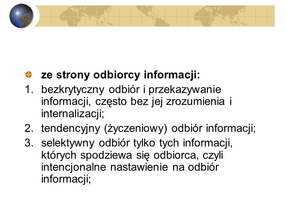 4.urojenia informacyjne: generowanie informacji w oparciu o własne domysły nie poparte faktami (na przykład plotki); ze strony poszukującego informacj