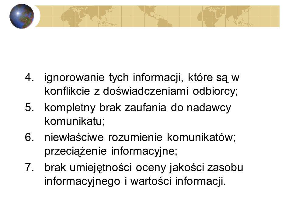 ze strony odbiorcy informacji: 1.bezkrytyczny odbiór i przekazywanie informacji, często bez jej zrozumienia i internalizacji; 2.tendencyjny (życzeniow