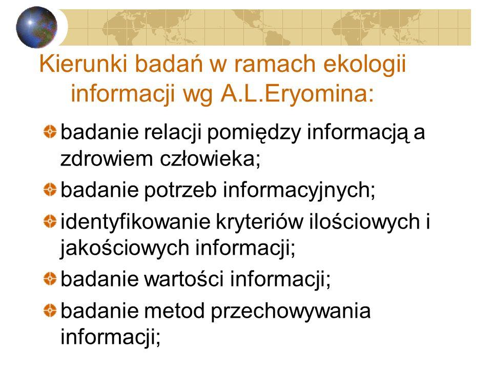 Termin ekologia informacji oznacza: Sumę ocen jakości, zarządzania, produktów i wartości informacji, jak również ocenę usług i potrzeb informacyjnych.