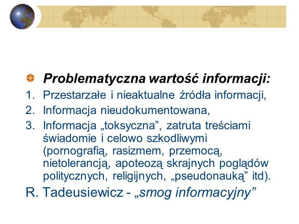 Informacja nieustrukturyzowana: 1.Informacja nieuporządkowana, chaotyczna, niespójna, rozproszona. 2.Mówi się też o atomizacji i fragmentaryczności in