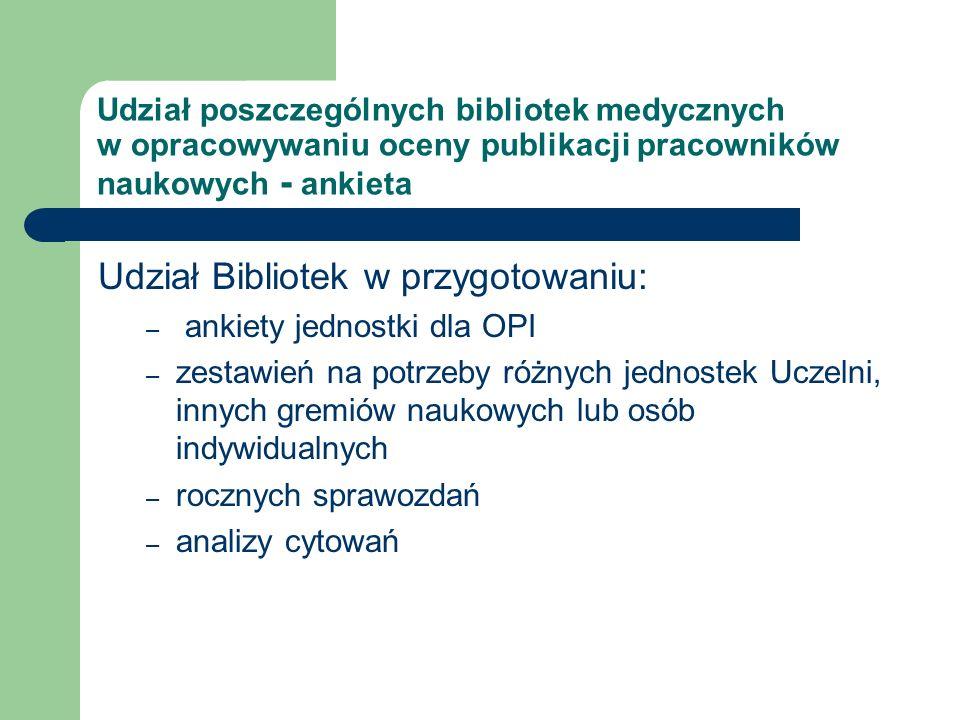 Analiza ankiety 1A Biblioteka wypełnia całą Ankietę OPI 1B przekazuje dane dotyczące publikacji na podstawie swojej bazy danych 1C w ogóle nie zajmuje się Ankietą 2A Biblioteka przygotowuje zestawienia publikacji na potrzeby konkursów na stanowiska 2B na potrzeby awansów 2C do otwarcia/zakończenia przewodu doktorskiego, habilitacyjnego 2D do indywidualnych sprawozdań rocznych 3A Biblioteka przygotowuje roczne zestawienia publikacji jednostek Uczelni - przekazuje dane dotyczące publikacji na podstawie swojej bazy danych 3B nie zajmuje się sprawozdaniem rocznym Biblioteka uczestniczy w pracach zespołów Uczelni zajmujących się ustalaniem wewnętrznych kryteriów ocen publikacji naukowych 4A tak 4B nie 5A Biblioteka dokonuje analizy cytowań 5B nie