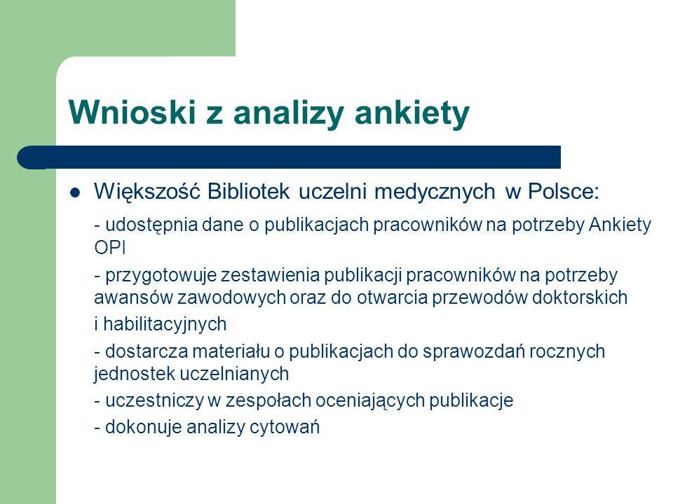 Wnioski z analizy ankiety Większość Bibliotek uczelni medycznych w Polsce: - udostępnia dane o publikacjach pracowników na potrzeby Ankiety OPI - przy