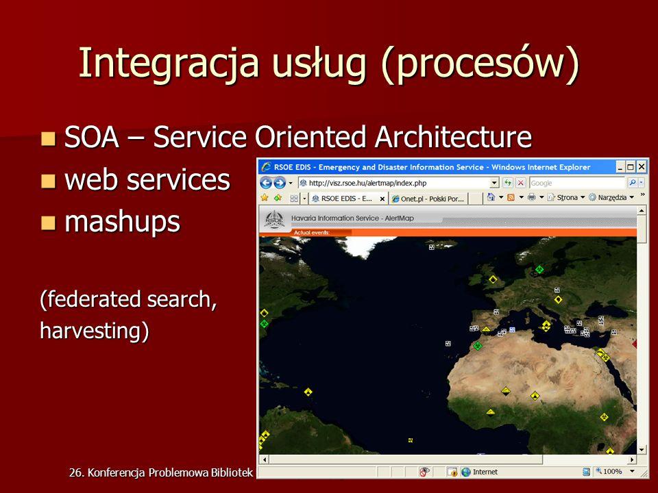 26. Konferencja Problemowa Bibliotek Medycznych, Bydgoszcz 2008 Integracja usług (procesów) SOA – Service Oriented Architecture SOA – Service Oriented