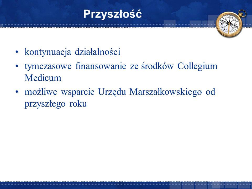 Przyszłość kontynuacja działalności tymczasowe finansowanie ze środków Collegium Medicum możliwe wsparcie Urzędu Marszałkowskiego od przyszłego roku
