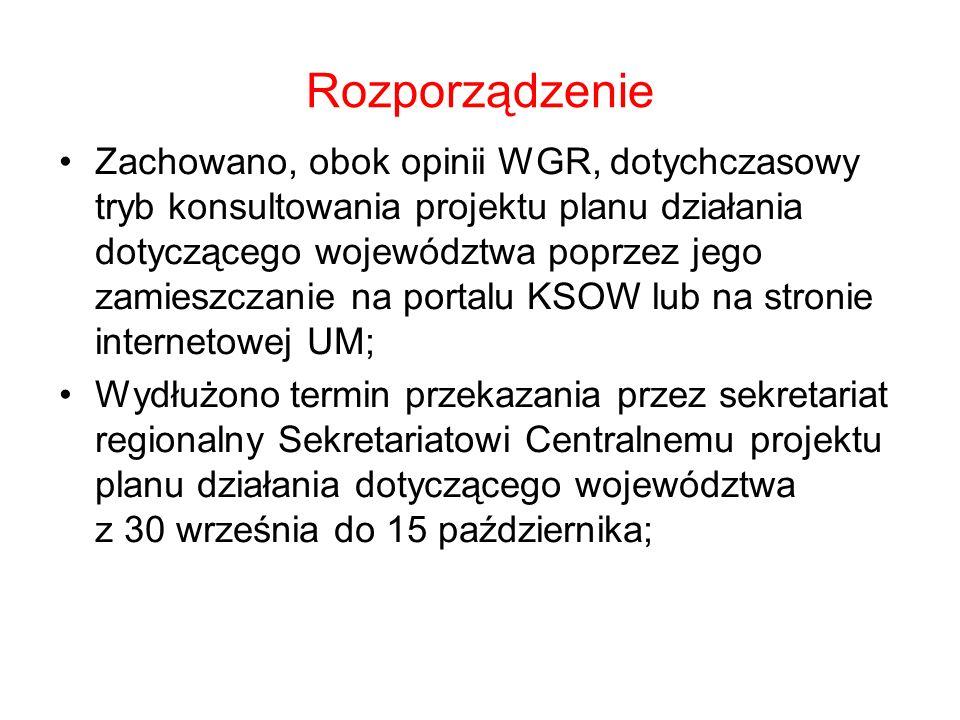 Rozporządzenie Zachowano, obok opinii WGR, dotychczasowy tryb konsultowania projektu planu działania dotyczącego województwa poprzez jego zamieszczanie na portalu KSOW lub na stronie internetowej UM; Wydłużono termin przekazania przez sekretariat regionalny Sekretariatowi Centralnemu projektu planu działania dotyczącego województwa z 30 września do 15 października;
