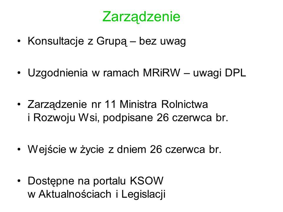 Konsultacje z Grupą – bez uwag Uzgodnienia w ramach MRiRW – uwagi DPL Zarządzenie nr 11 Ministra Rolnictwa i Rozwoju Wsi, podpisane 26 czerwca br.
