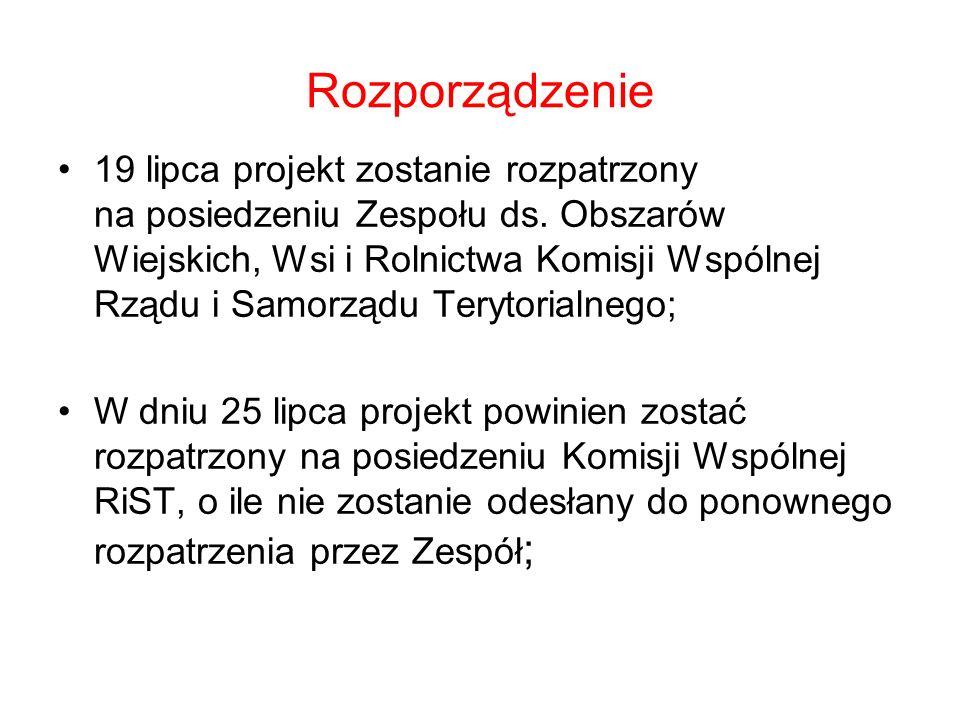 Rozporządzenie 19 lipca projekt zostanie rozpatrzony na posiedzeniu Zespołu ds.