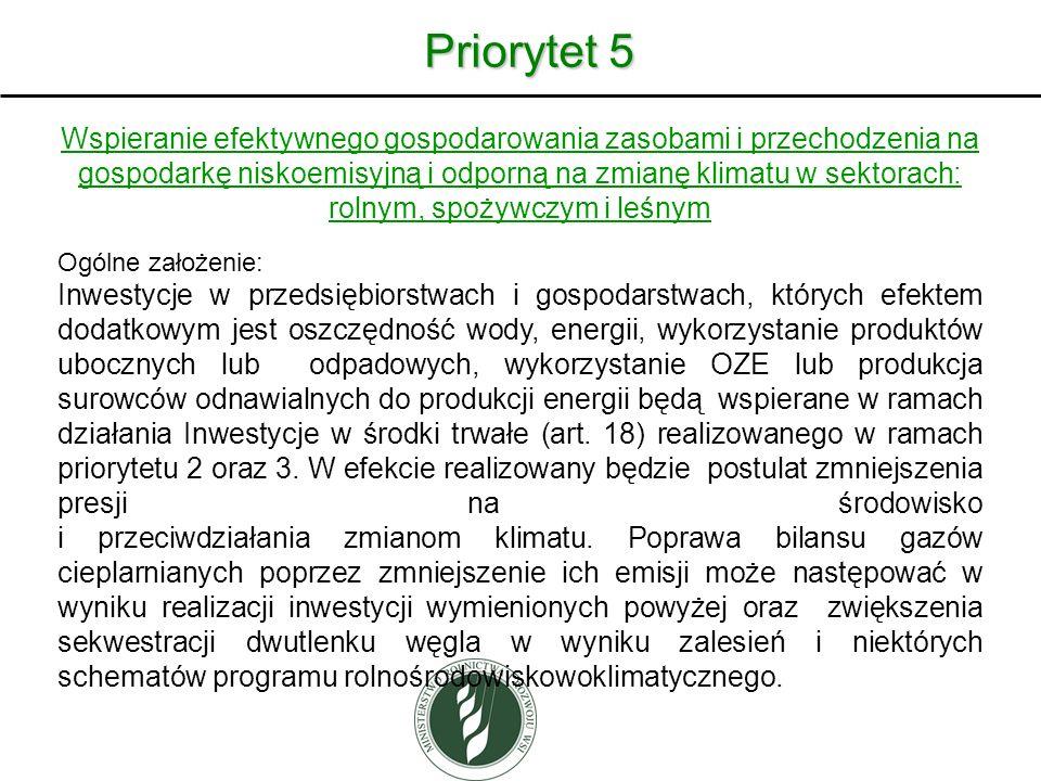 Priorytet 5 Wspieranie efektywnego gospodarowania zasobami i przechodzenia na gospodarkę niskoemisyjną i odporną na zmianę klimatu w sektorach: rolnym