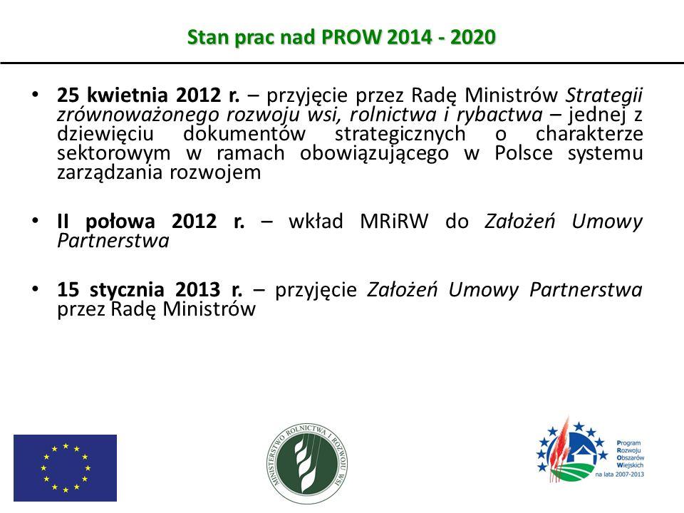 Stan prac nad PROW 2014 - 2020 25 kwietnia 2012 r. – przyjęcie przez Radę Ministrów Strategii zrównoważonego rozwoju wsi, rolnictwa i rybactwa – jedne