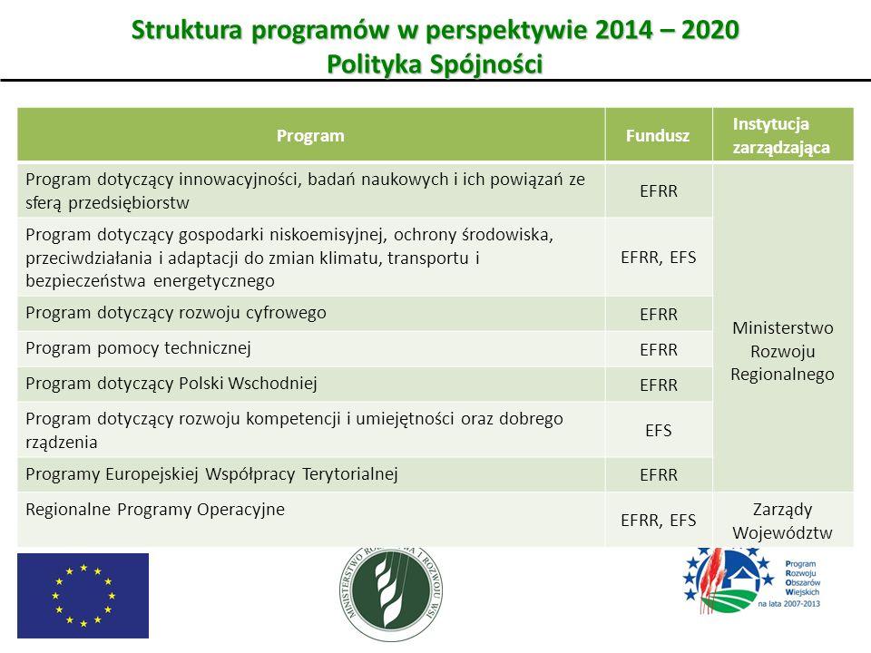 Struktura programów w perspektywie 2014 – 2020 Polityka Spójności ProgramFundusz Instytucja zarządzająca Program dotyczący innowacyjności, badań nauko