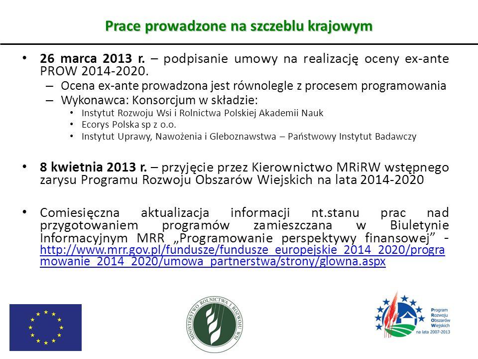 Prace prowadzone na szczeblu krajowym 26 marca 2013 r. – podpisanie umowy na realizację oceny ex-ante PROW 2014-2020. – Ocena ex-ante prowadzona jest