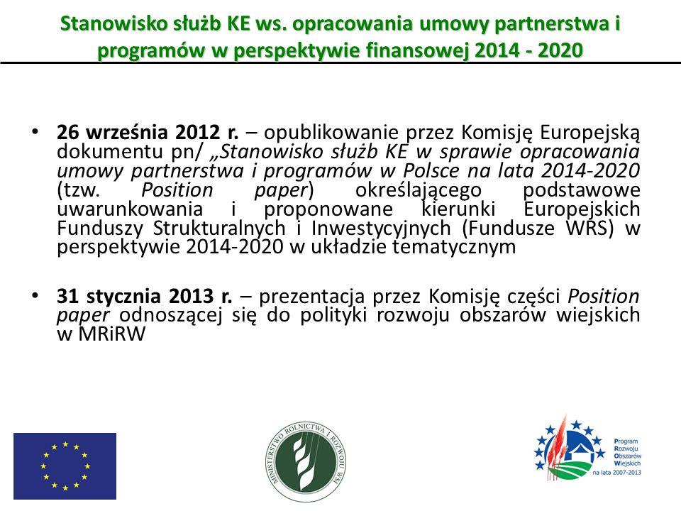 Stanowisko służb KE ws. opracowania umowy partnerstwa i programów w perspektywie finansowej 2014 - 2020 26 września 2012 r. – opublikowanie przez Komi