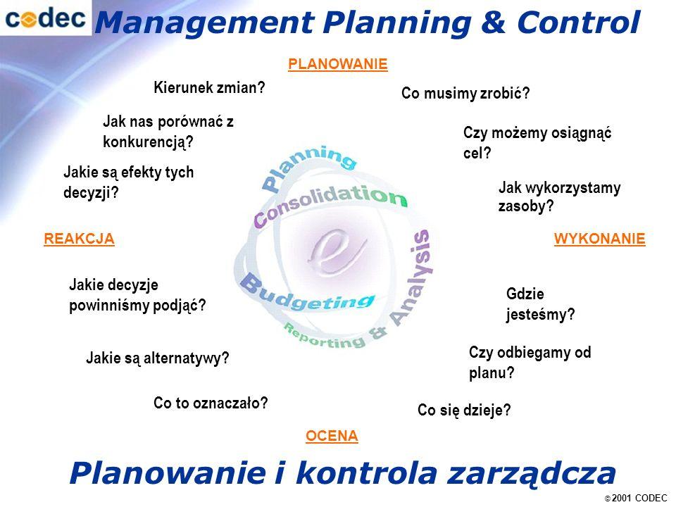 © 2001 CODEC Management Planning & Control REAKCJA OCENA WYKONANIE Jakie są alternatywy.