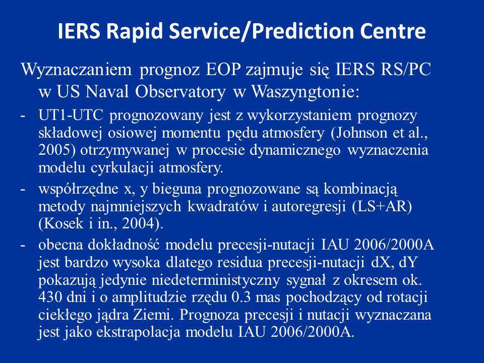 IERS Rapid Service/Prediction Centre Wyznaczaniem prognoz EOP zajmuje się IERS RS/PC w US Naval Observatory w Waszyngtonie: -UT1-UTC prognozowany jest