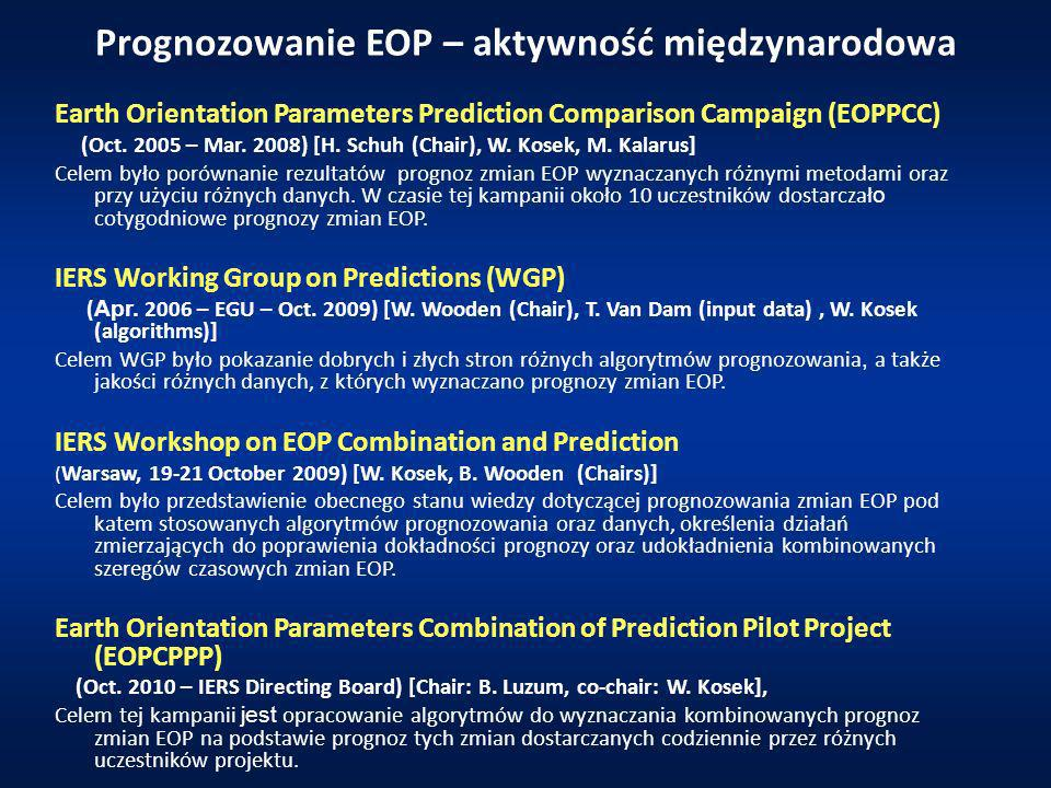 Wyniki EOPPCC Mean prediction errors (in mas) of x, y pole coordinates data computed from prediction results of different algorithms participating in the EOPPCC.