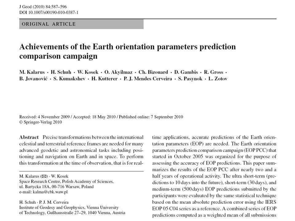 Średni błąd prognozy kombinowanej współrzędnej x bieguna ziemskiego jest większy niż najmniejszy średni błąd prognozy dla jednej techniki obliczeniowej.