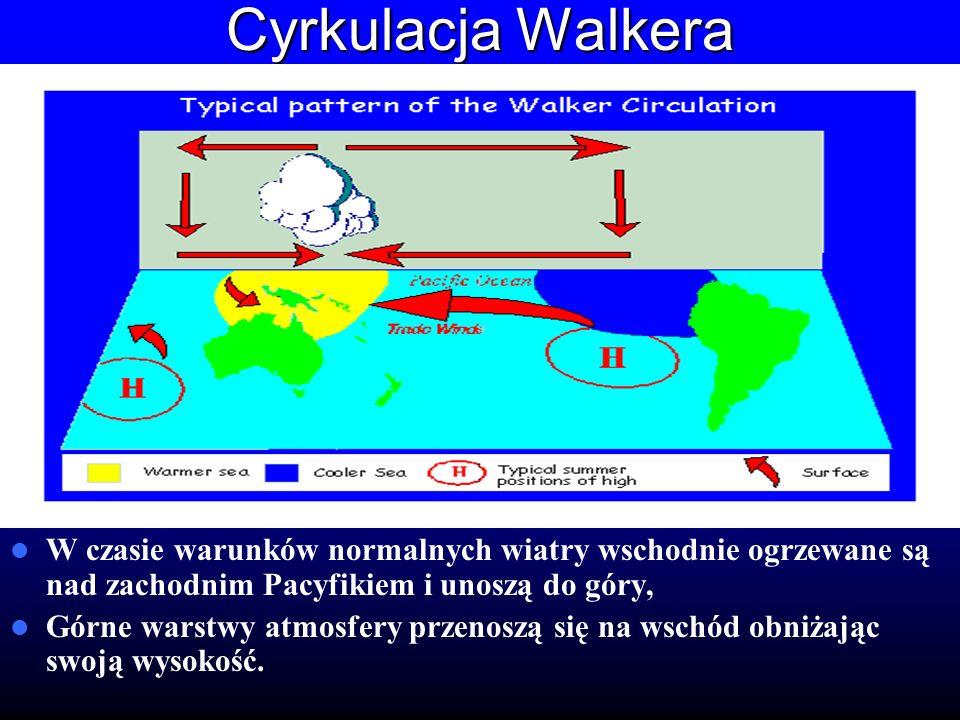 Cyrkulacja Walkera W czasie warunków normalnych wiatry wschodnie ogrzewane są nad zachodnim Pacyfikiem i unoszą do góry, Górne warstwy atmosfery przen