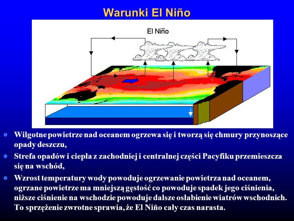 Warunki El Niño Wilgotne powietrze nad oceanem ogrzewa się i tworzą się chmury przynoszące opady deszczu, Strefa opadów i ciepła z zachodniej i centra