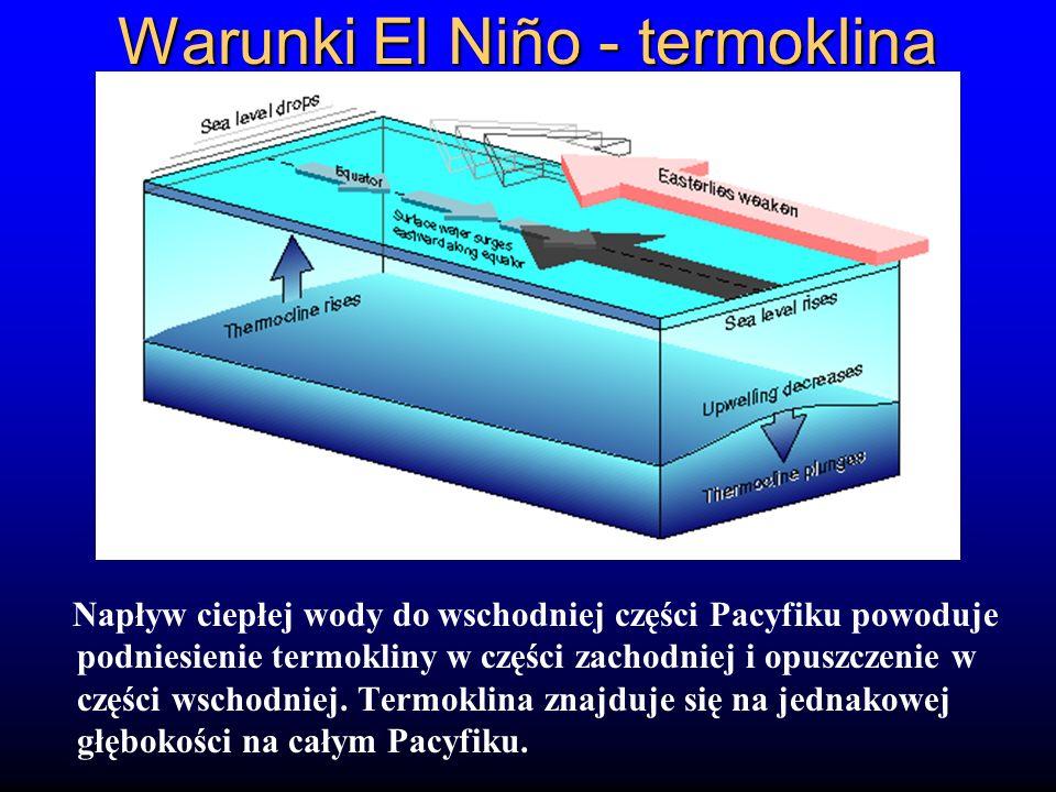 Warunki El Niño - termoklina Napływ ciepłej wody do wschodniej części Pacyfiku powoduje podniesienie termokliny w części zachodniej i opuszczenie w cz