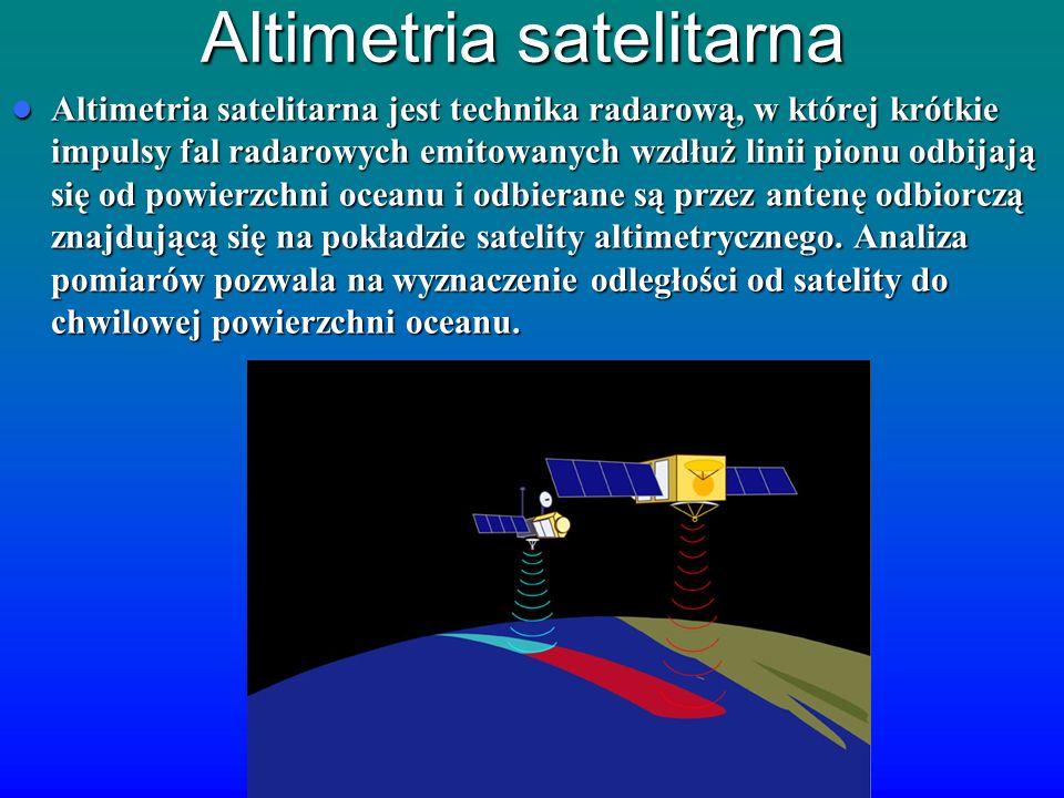Altimetria satelitarna Altimetria satelitarna jest technika radarową, w której krótkie impulsy fal radarowych emitowanych wzdłuż linii pionu odbijają