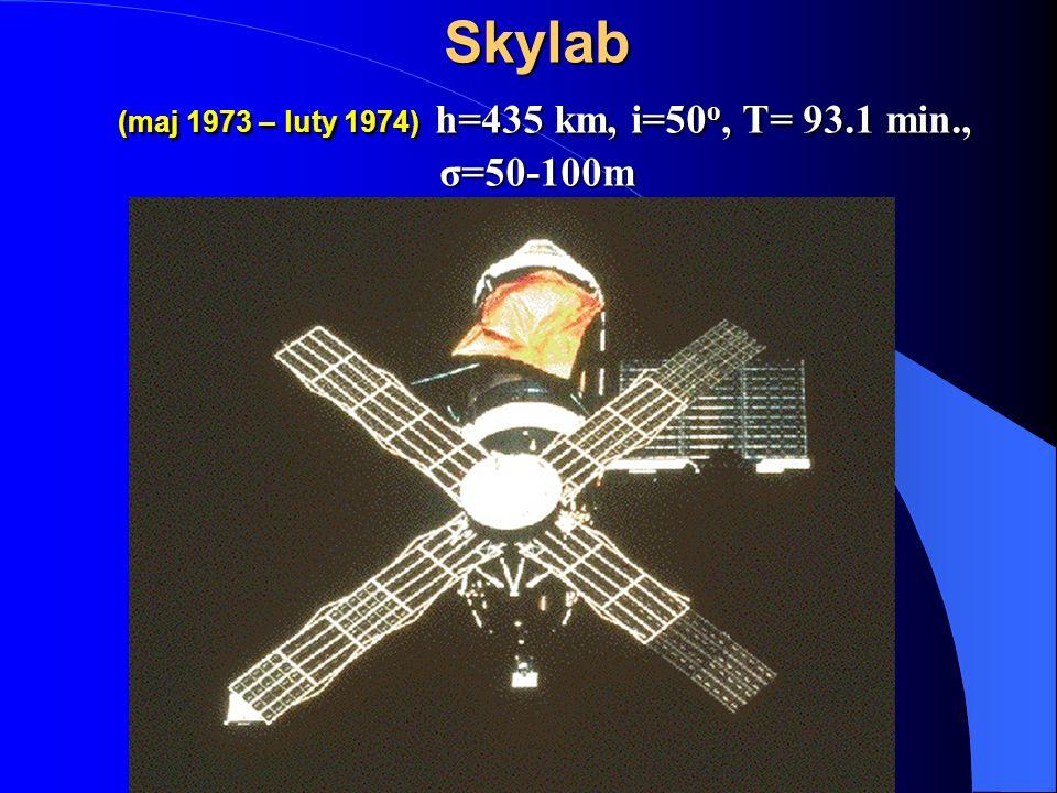 Skylab (maj 1973 – luty 1974) h=435 km, i=50 o, T= 93.1 min., σ=50-100m