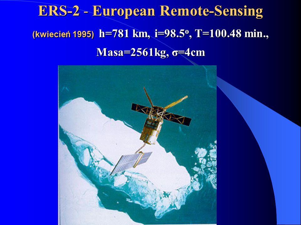 ERS-2 - European Remote-Sensing (kwiecień 1995) h=781 km, i=98.5 o, T=100.48 min., Masa=2561kg, σ=4cm