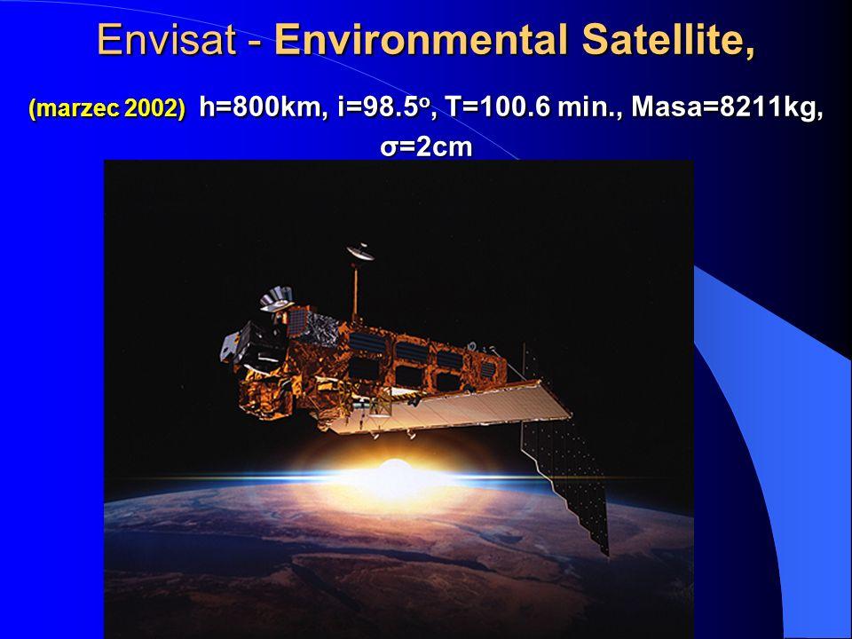 Envisat - Environmental Satellite, (marzec 2002) h=800km, i=98.5 o, T=100.6 min., Masa=8211kg, σ=2cm