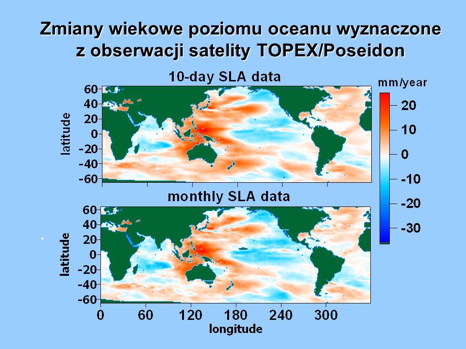 Zmiany wiekowe poziomu oceanu wyznaczone z obserwacji satelity TOPEX/Poseidon.
