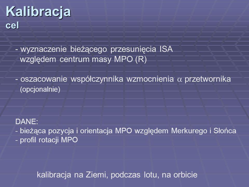 Kalibracjacel kalibracja na Ziemi, podczas lotu, na orbicie - wyznaczenie bieżącego przesunięcia ISA względem centrum masy MPO (R) - oszacowanie współ