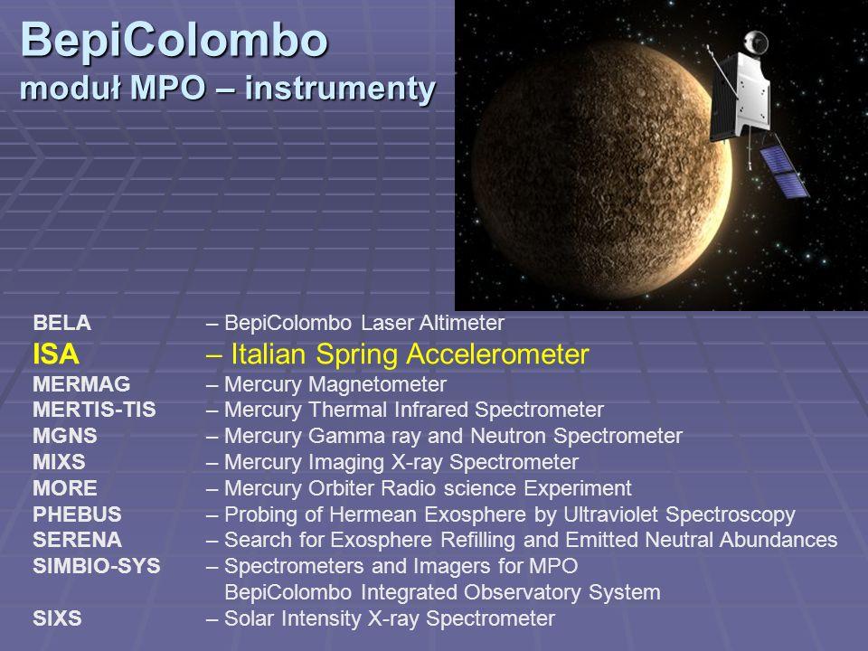 BepiColombo moduł MPO – orbita Semimajor axis a 3389 km (400 x 1500 km) Eccentricity e 0.162 Inclination I 90° Orbital period P 8355 s (2.32 h) Ascending node longitude 0 deg Argument of pericenter 0.7 deg Nodal rate d /dt 0 deg/day Pericenter rate d /dt 0.0915 deg/day