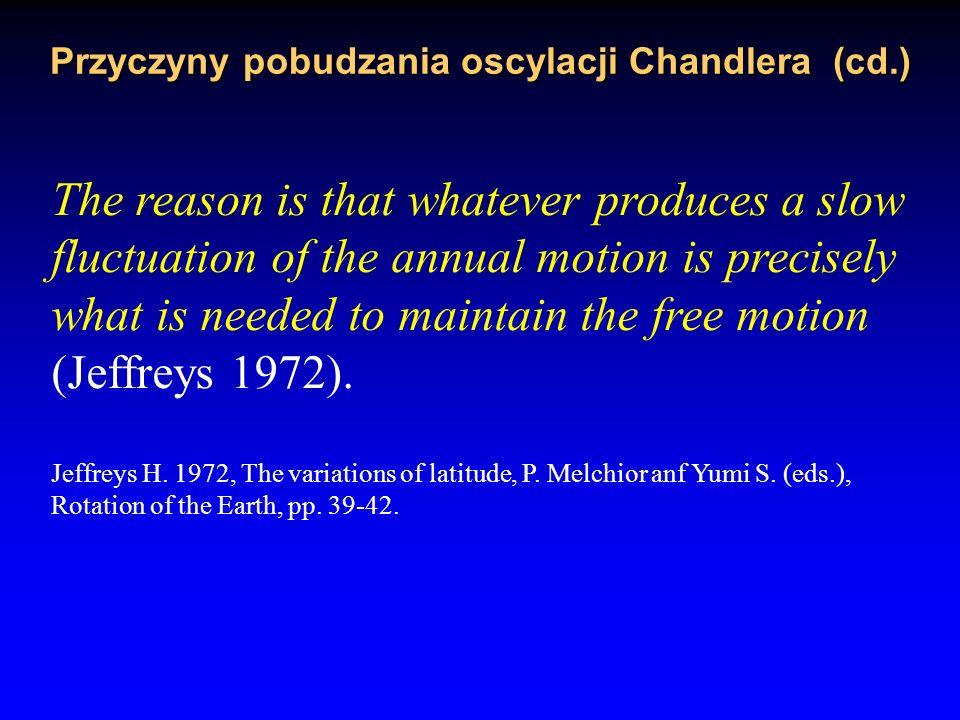 Przyczyny pobudzania oscylacji Chandlera electromagnetic torques (Rochester and Smylie 1965; Lambeck 1989).