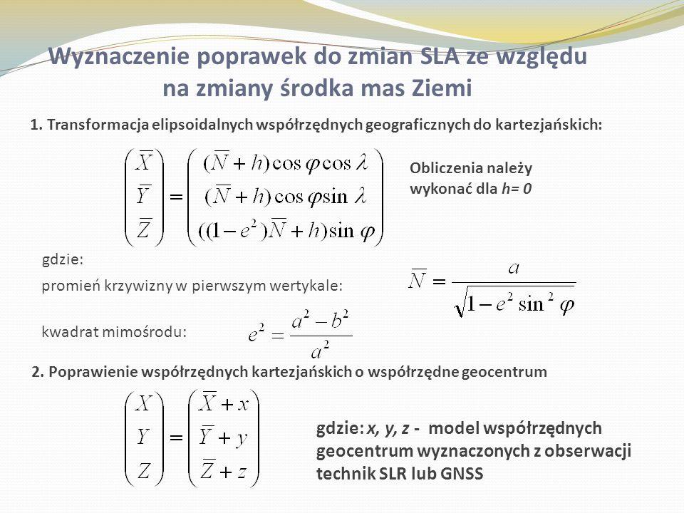 1. Transformacja elipsoidalnych współrzędnych geograficznych do kartezjańskich: promień krzywizny w pierwszym wertykale: kwadrat mimośrodu: 2. Poprawi