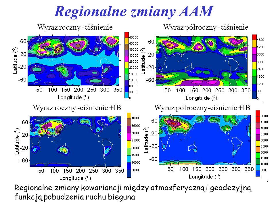 Regionalne zmiany AAM Wyraz roczny -ciśnienieWyraz półroczny -ciśnienie Wyraz półroczny-ciśnienie +IBWyraz roczny -ciśnienie +IB Regionalne zmiany kow