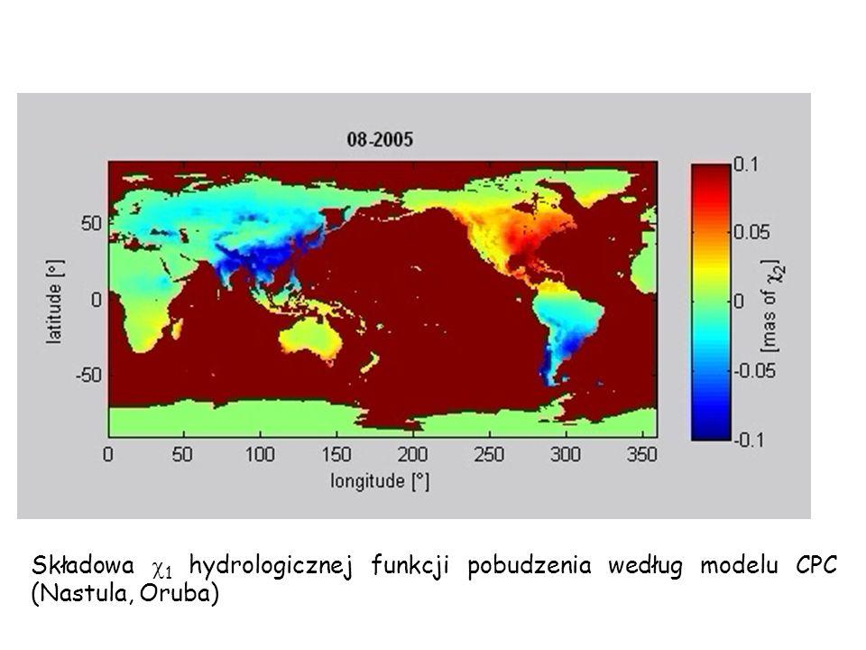 Składowa 1 hydrologicznej funkcji pobudzenia według modelu CPC (Nastula, Oruba)