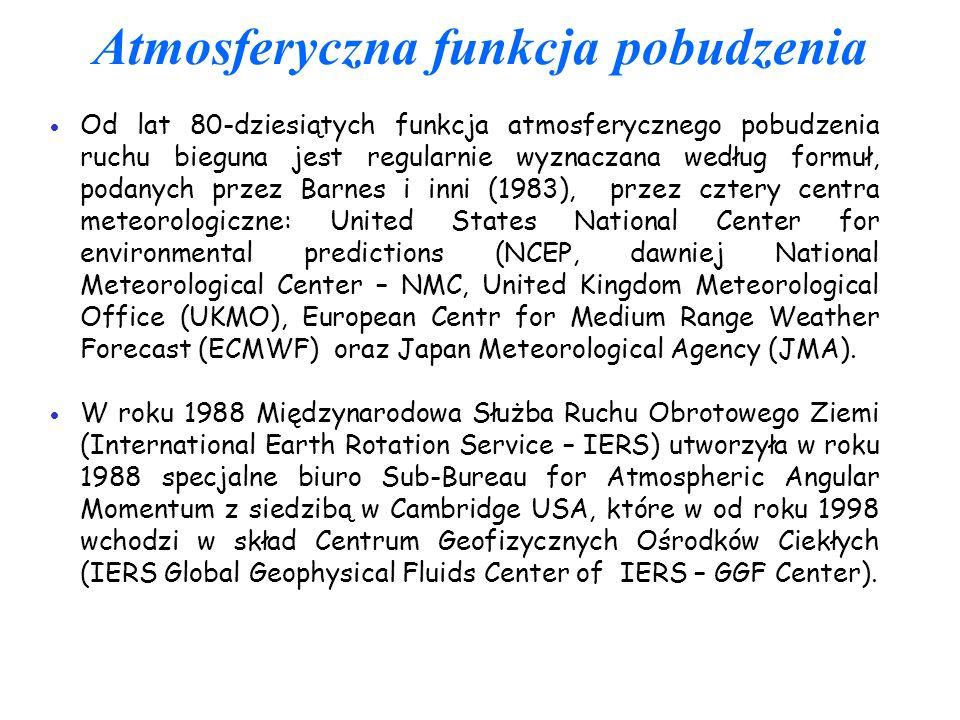 Atmosferyczna funkcja pobudzenia Od lat 80-dziesiątych funkcja atmosferycznego pobudzenia ruchu bieguna jest regularnie wyznaczana według formuł, poda