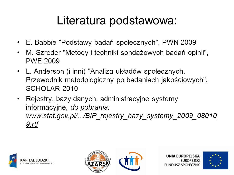 Literatura podstawowa: E. Babbie