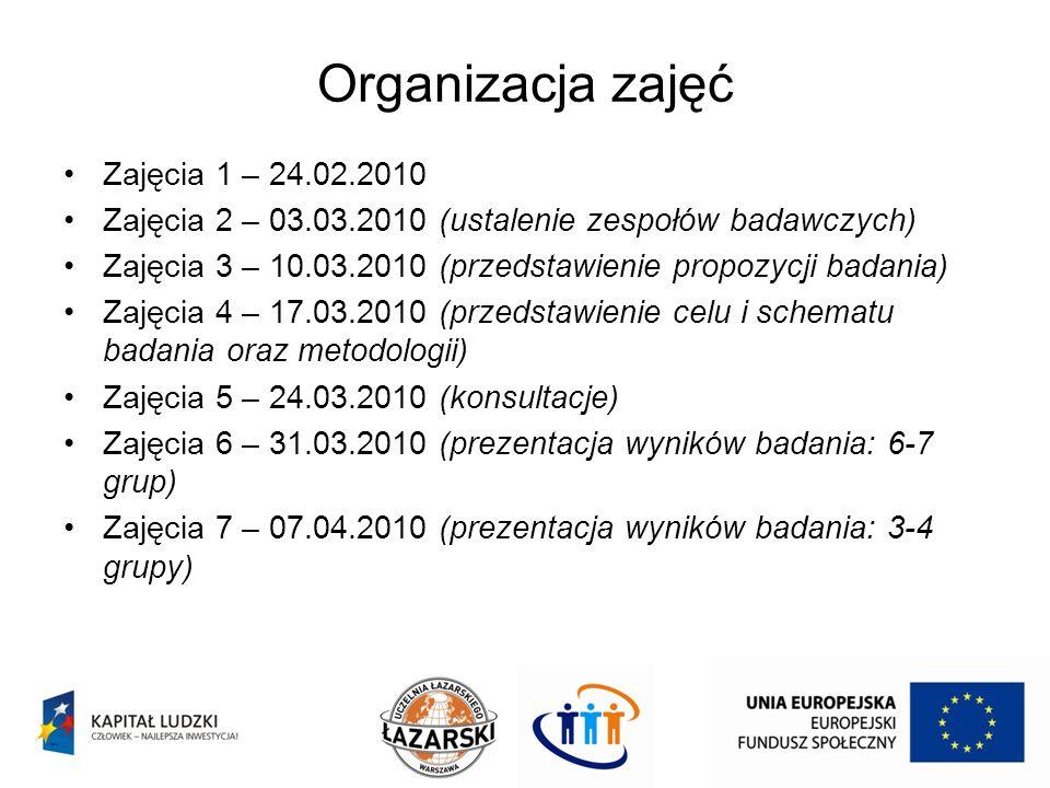 Organizacja zajęć Zajęcia 1 – 24.02.2010 Zajęcia 2 – 03.03.2010 (ustalenie zespołów badawczych) Zajęcia 3 – 10.03.2010 (przedstawienie propozycji bada