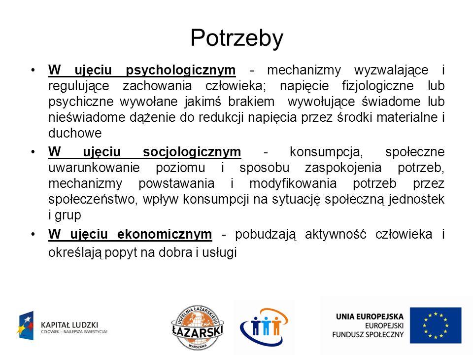 Potrzeby W ujęciu psychologicznym - mechanizmy wyzwalające i regulujące zachowania człowieka; napięcie fizjologiczne lub psychiczne wywołane jakimś br